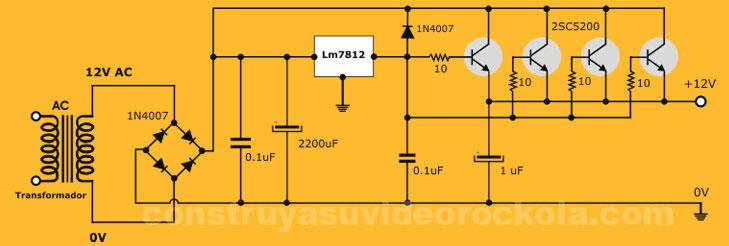 fuente con varios transistores